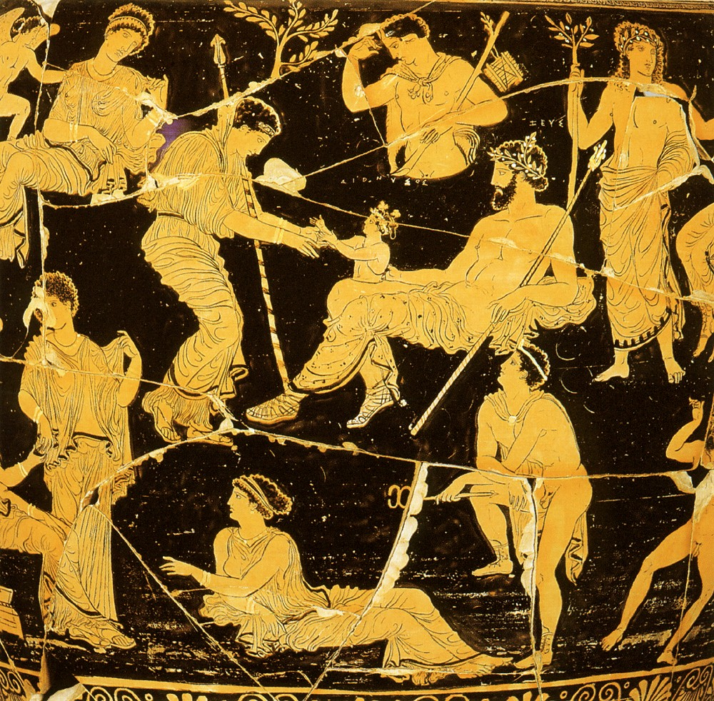 mythology dionysus and semele Dionysus was the son of zeus and semele, a daughter of cadmus (king of thebes) out of jealousy, hera , the wife of zeus, persuaded the pregnant semele to prove her lover's divinity by requesting that he appear in his real person.