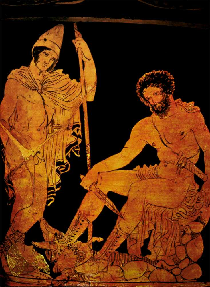 Odysseus and his mother in the underworld